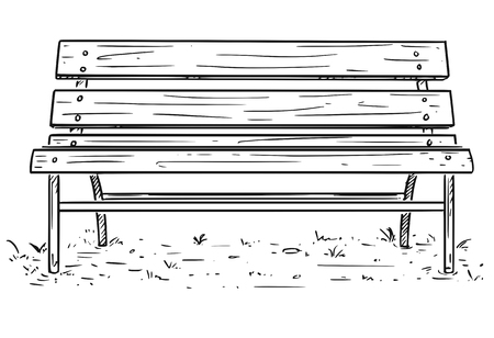 Cartoon Drawing illustration of empty park bench or seat made from metal and wood.