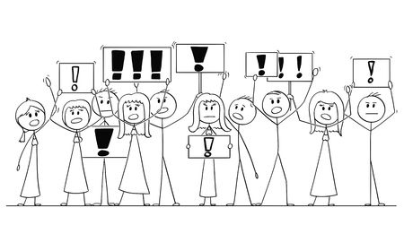 Cartoon stick figure isolated drawing or illustration of group or crowd of protesters protesting with exclamation mark or point on signs.