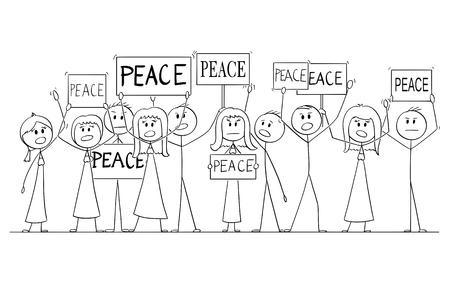 Cartoon-Strichmännchen-Zeichnung oder Illustration einer Gruppe oder Menge von Demonstranten, die mit Friedenstext auf Schildern demonstrieren.