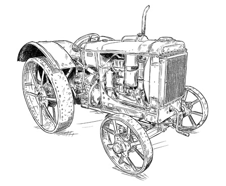 Old vintage tractor vector pen and ink illustration. Tractor was made in Chicago, Illinois, United States or USA from 1938 to 1939 or 30's. Ilustração