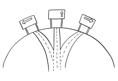Dessin artistique d'un carrefour conceptuel à trois voies ou d'un carrefour routier avec des panneaux fléchés directionnels sur l'autoroute. Concept d'options et de décision.