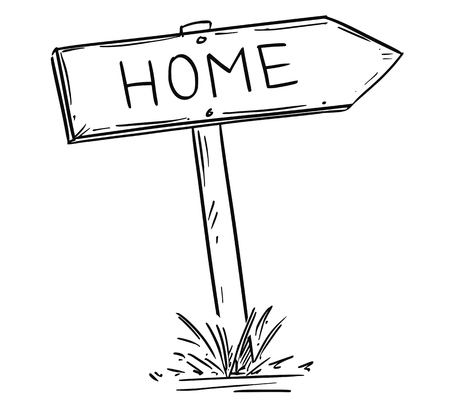 Artistic drawing of old wooden road arrow sign with Home text.