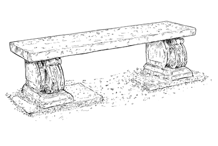 Artistic drawing of old , antique and ornamental park or garden bench made from stone. Illusztráció