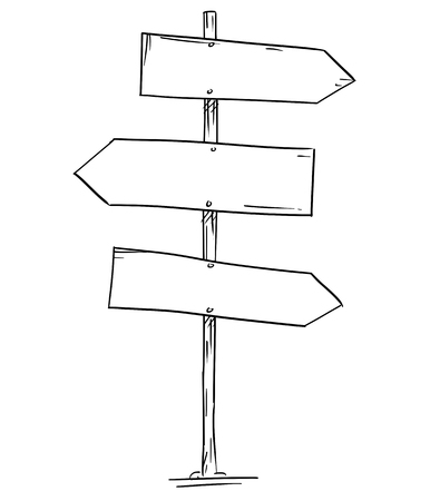 Artistic drawing of old empty or blank wooden three directional road arrow sign. Ready for your text.
