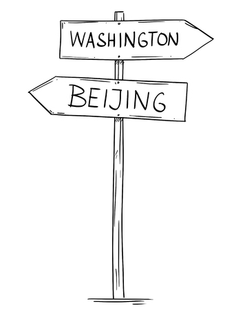 Artistic drawing of old wooden two directional road arrow sign with city Washington and Beijing texts. Concept of USA and China relations. Illustration