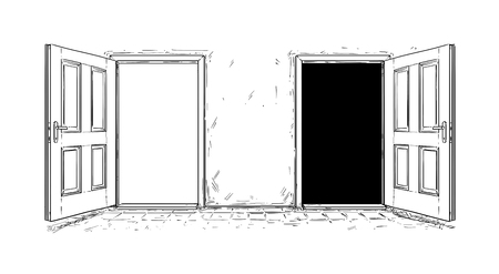 Cartoon doodle drawing of two open wooden decision door. Two choices or ways. Reklamní fotografie