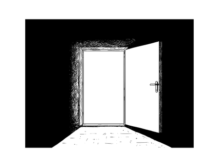 Cartoon doodle drawing illustration of open wooden decision door and light coming from it. Reklamní fotografie