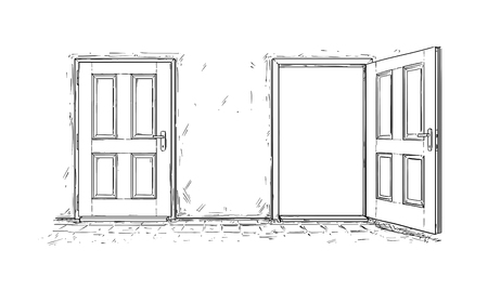 Cartoon doodle drawing of two open and close wooden decision door. Two choices or ways. Reklamní fotografie