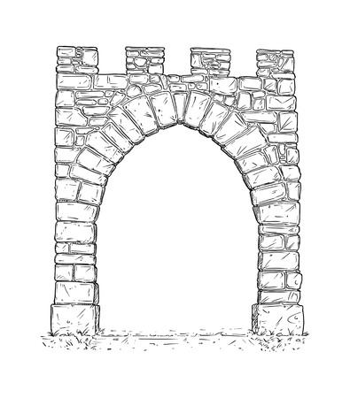 Cartoon doodle drawing illustration of open medieval stone decision gate.