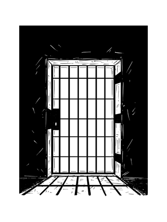 Cartoon doodle drawing illustration of prison or jail door made from iron bars casting shadow.