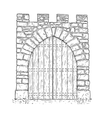 Cartoon doodle drawing illustration of medieval stone decision gate closed by wooden door . Banco de Imagens