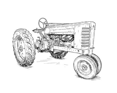 Artistic digital pen and ink drawing of old tractor. Tractor was made in Iowa, USA or US between 1934 and 1952 or 30s, 40s , 50s. Stock Photo