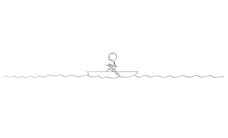 Cartoon stick figure drawing of lonely man or survivor paddling alone in small boat with paddles in middle of sea or nowhere on water.