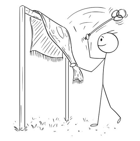 Cartoon stick figure drawing of man beating rug or carpet with beater or whip removing dust. Illustration