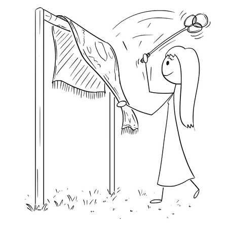 Cartoon stick figure drawing of woman beating rug or carpet with beater or whip removing dust.