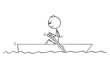 Cartoon stick figure drawing of man paddling in small boat with paddles on water. Illusztráció