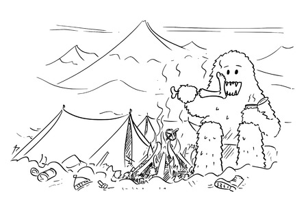 Cartoon drawing of Yeti enjoying devouring or eating alpinist or mountaineer in base camp of mountain climbing expedition.
