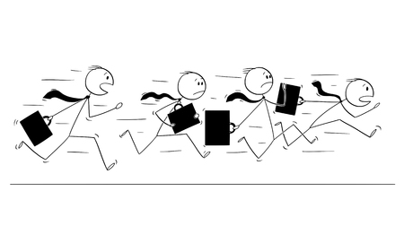 Cartoon stick figure drawing of group of businessmen in suits and briefcases or notebooks running together in panic. Illustration