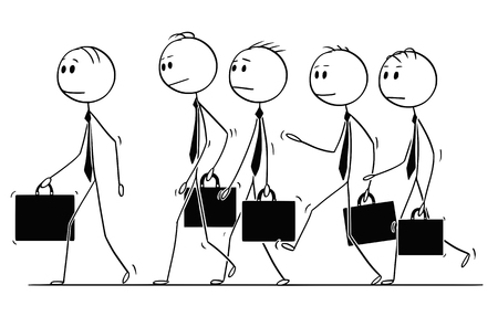 Cartoon stick figure drawing of group of businessmen in suits and briefcases or notebooks walking together as team.