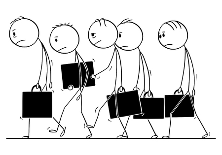Cartoon stick figure conceptual drawing of group of sad or depressed businessmen walking together as team. Concept of failure, crisis or stress.