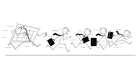 Cartoon stick figure conceptual drawing of group of businessmen in suits and briefcases or notebooks running together in panic away from falling graph or chart. Illustration