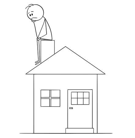 Cartoon stick figure conceptual drawing of sad or depressed man sitting on family house chimney and thinking. Concept of mortgage and property investment.