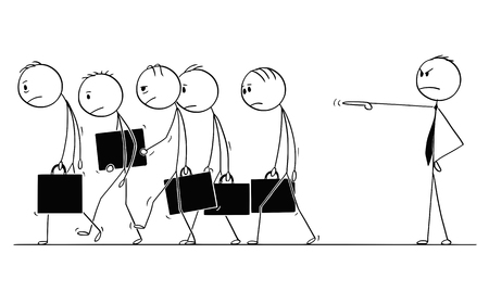 Cartoon stick figure conceptual drawing of group of sad or depressed businessmen or employees fired or expelled by boss or superior and walking together . Concept of team failure. Illustration