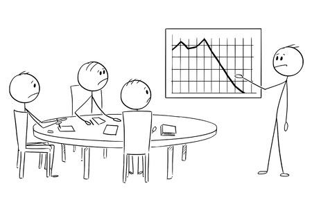 Cartoon stick figure drawing conceptual illustration of businessman presenting graph with bad results on business or work meeting. Çizim