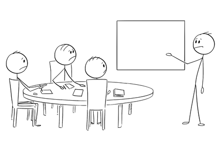 Cartoon stick figure drawing conceptual illustration of businessman presenting failure on empty table on business or work meeting.