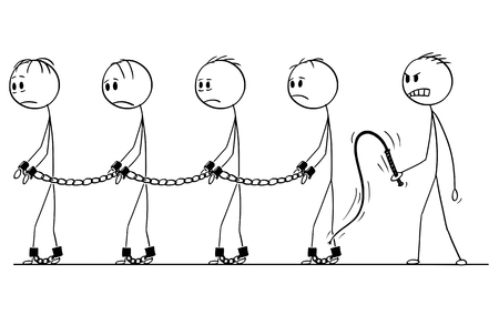 Cartoon stick figure drawing conceptual illustration of male slaves walking in chains and slave master with whip.