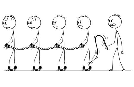 Cartoon stok figuur tekening conceptuele afbeelding van mannelijke slaven wandelen in kettingen en slavenmeester met zweep.