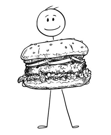 Cartoon stick figure drawing conceptual illustration of smiling man holding big burger or hamburger.