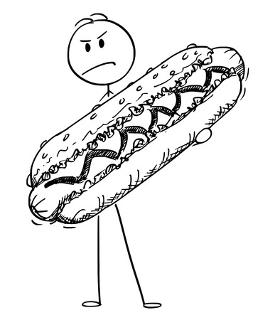 Cartoon stick figure drawing conceptual illustration of angry man holding big hot dog.