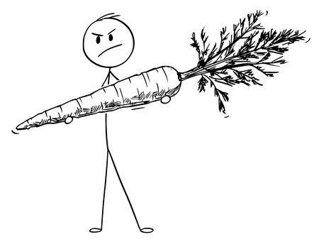 Cartoon stick figure drawing conceptual illustration of angry man holding big carrot vegetable.