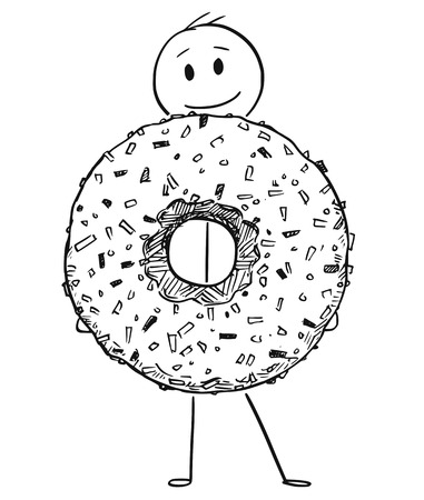 Cartoon stick figure drawing conceptual illustration of smiling man holding big donut or doughnut dessert.