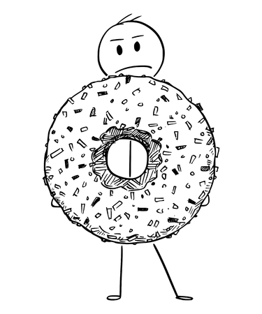 Cartoon stick figure drawing conceptual illustration of angry man holding big donut or doughnut dessert.