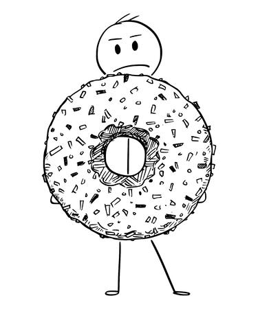 Cartoon stick figure drawing conceptual illustration of angry man holding big donut or doughnut dessert.