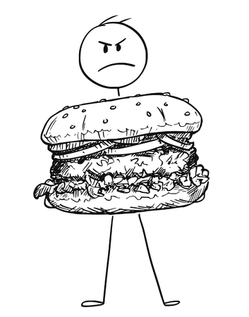 Cartoon stick figure drawing conceptual illustration of angry man holding big burger or hamburger. Illustration