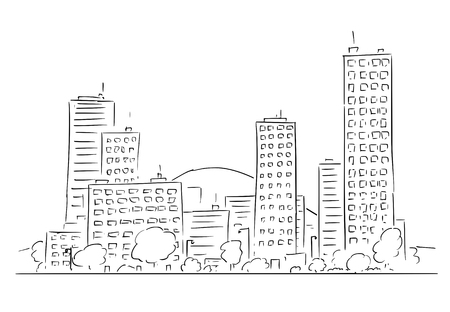 Cartoon vector drawing of cityscape landscape, modern high residential or commercial buildings.
