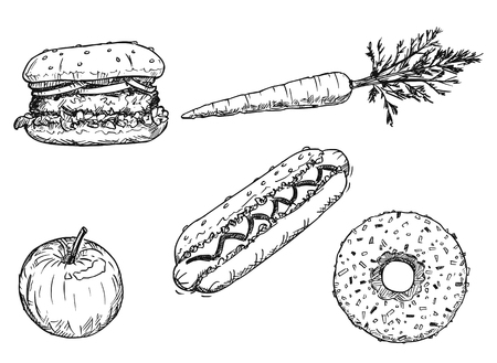 Cartoon vector drawing of set of food, healthy vegetable and fruit and unhealthy delicious deserts. Apple,carrot, burger, donut, hot dog, doughnut, hamburger.