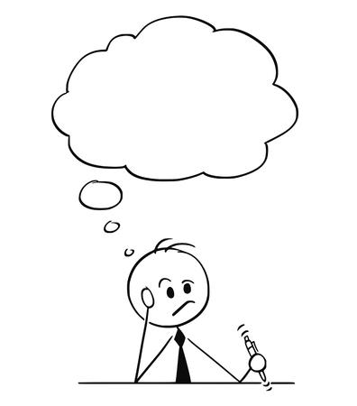 Cartoon stick figure dibujo ilustración conceptual del empresario sentado detrás de la mesa y pensando mucho con la pluma en la mano. Hay un globo de texto vacío sobre su cabeza.