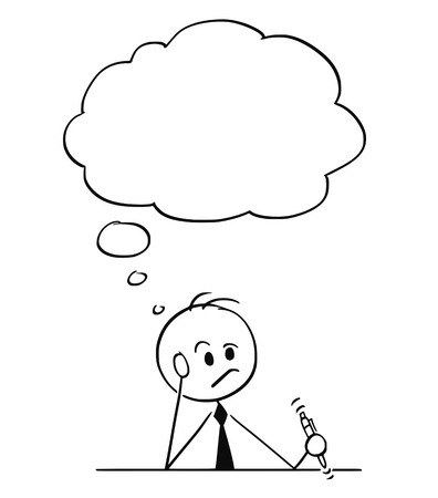 Cartoon stick figure drawing conceptual illustration of businessman sitting behind table and thinking hard with pen in hand. There is empty text balloon above his head. Illustration