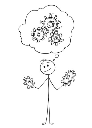 Cartoon stick figure drawing conceptual illustration of man or businessman holding two cogwheels and thinking about problem solution.