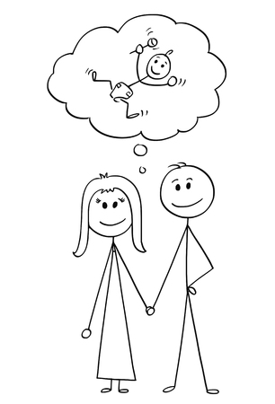Cartoon stick figure drawing conceptual illustration of loving heterosexual couple of man and woman holding each other hand and thinking about having a baby.