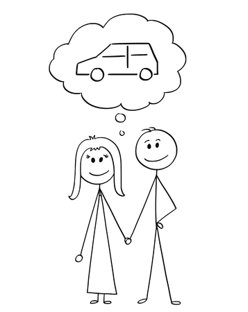 Cartoon stick figure drawing conceptual illustration of happy couple of man and woman holding each other hand and thinking about buying car or vehicle.