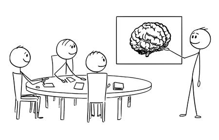 Cartoon stick figure dessin illustration conceptuelle de l'équipe de gestion d'entreprise sur le remue-méninges, l'homme d'affaires présente l'image du cerveau représentant l'idée et la créativité. Vecteurs