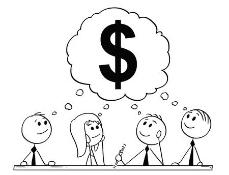 Cartoon stick figure dessin illustration conceptuelle de l'équipe d'hommes d'affaires et de femme d'affaires ayant un remue-méninges sur le symbole du dollar comme métaphore de l'argent et des finances.