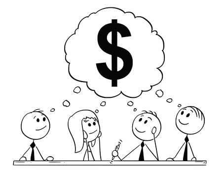 Cartoon stick figure drawing conceptual illustration of team of businessmen and businesswoman having brainstorming about dollar symbol as money and finance metaphor.