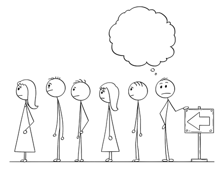 Cartoon stick figure drawing conceptual illustration of man waiting in line or queue with empty or blank speech bubble or text ballon above. Illustration