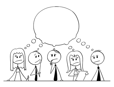 Cartoon stick figure drawing conceptual illustration of team of businessmen and businesswoman having brainstorming thinking about problem solution with empty speech bubble.